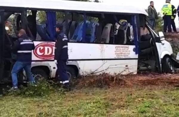 صورة مصرع 10 أشخاص اثر حادث تصادم بين شاحنة وحافلة صغيرة بجنوب رومانيا