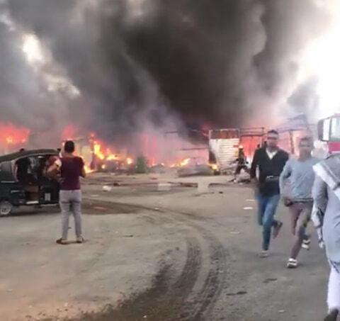 صورة حريق هائل في سوق توشكي بحلوان